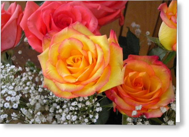Greeting Card featuring the painting Valentine's Day Roses 2 by Renate Nadi Wesley