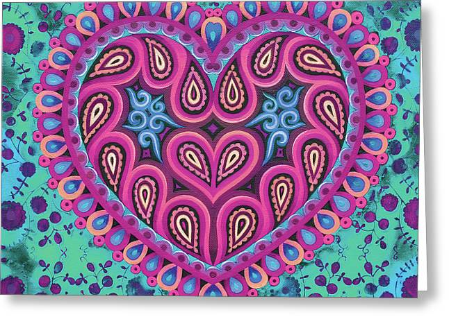 Valentine's Folk Heart On Green Greeting Card by Jane Tattersfield