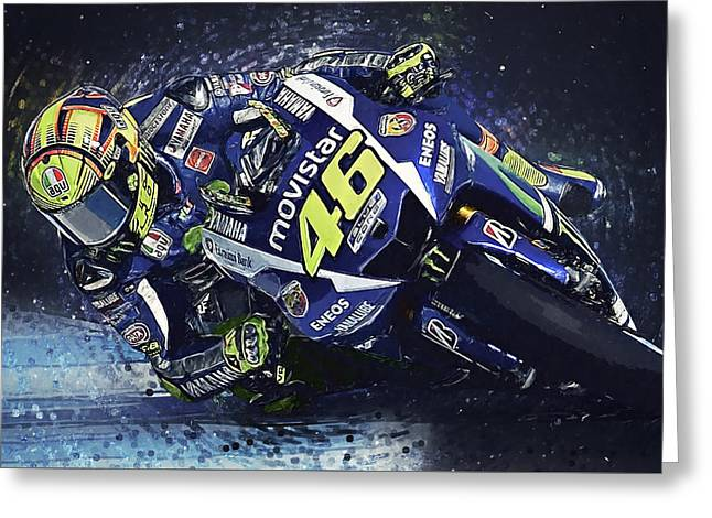 Valentino Rossi Greeting Card by Taylan Apukovska