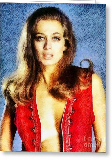 Valerie Leon, Vintage Actress Greeting Card by John Springfield