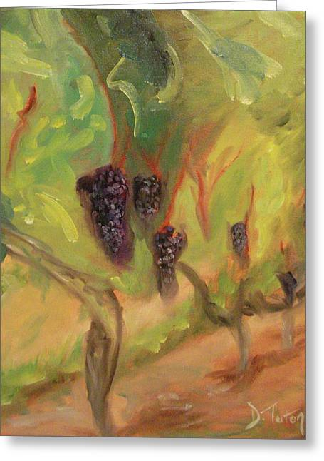 Greeting Card featuring the painting Valhalla Vineyard by Donna Tuten