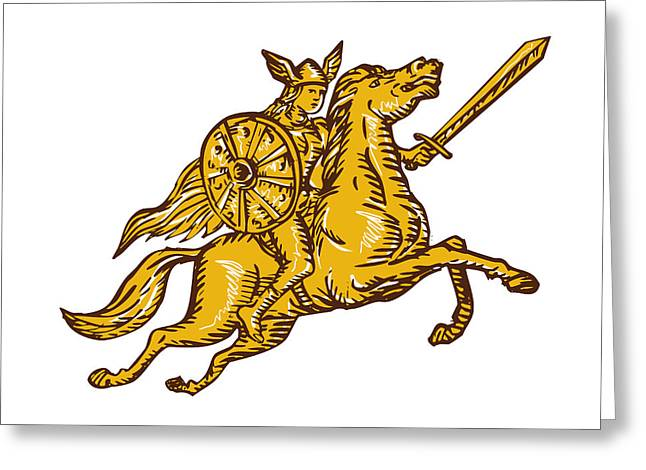 Valkyrie Warrior Riding Horse Sword Etching Greeting Card