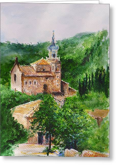 Valldemossa Pleine Air Painting Comp. Greeting Card by Lizzy Forrester