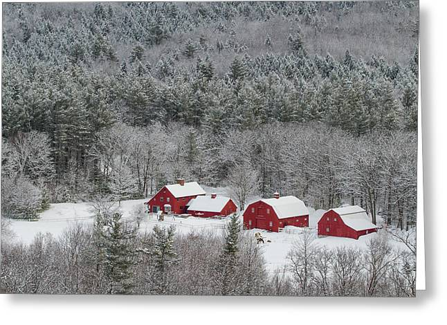 Valley Farm In Winter Greeting Card