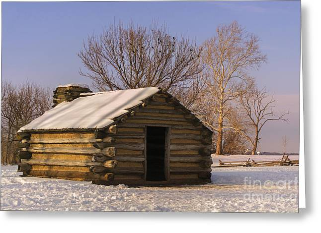 Valley Forge Cabin At Sunset Greeting Card