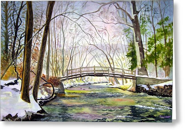 Valley Forge Footbridge Greeting Card by Paul Temple