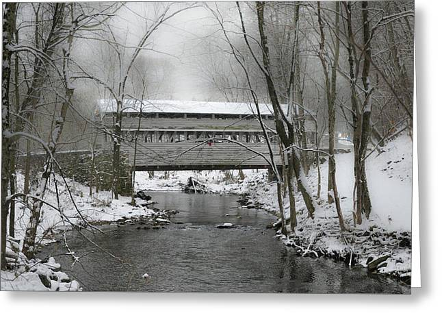 Valley Forge Winter - Knox Covered Bridge Greeting Card
