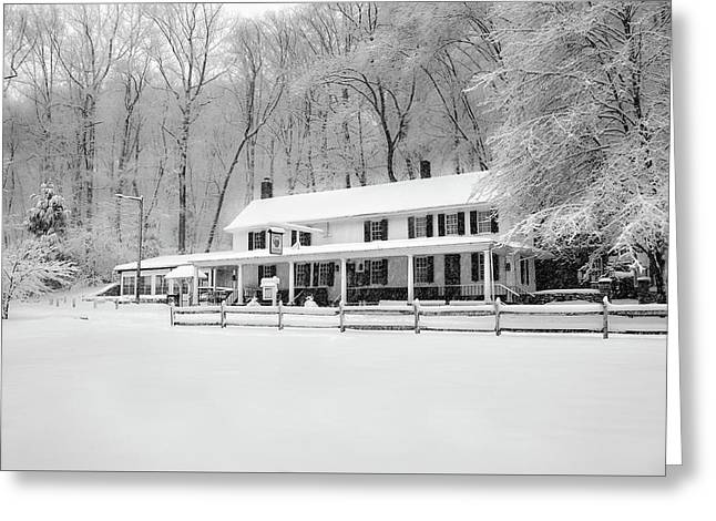 Valley Green Snowfall In Black And White Greeting Card by Bill Cannon