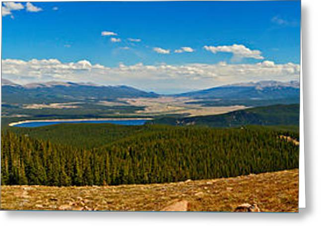 Valley Of 14ers Panorama Greeting Card by Jeremy Rhoades