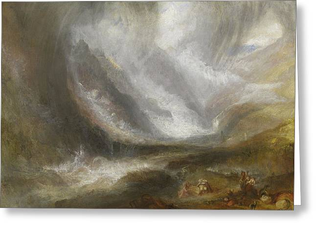Valley Of Aosta  Snowstorm, Avalanche, And Thunderstorm Greeting Card by Joseph Mallord William Turner