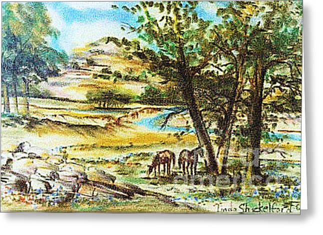 Greeting Card featuring the pastel Valley Of Horses by Linda Shackelford