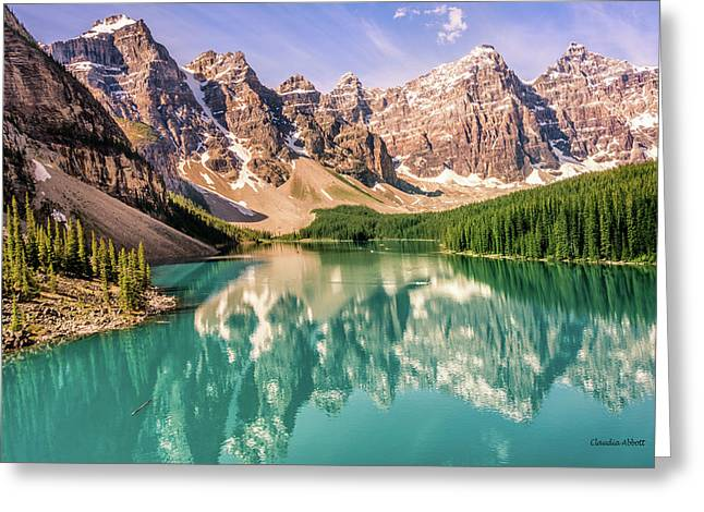 Greeting Card featuring the photograph Valley Of Ten Peaks by Claudia Abbott