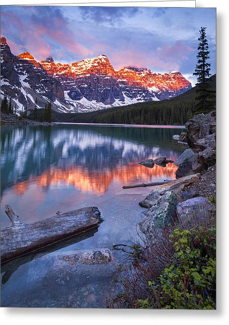 Valley Of The Ten Peaks Greeting Card by Tomas Nevesely