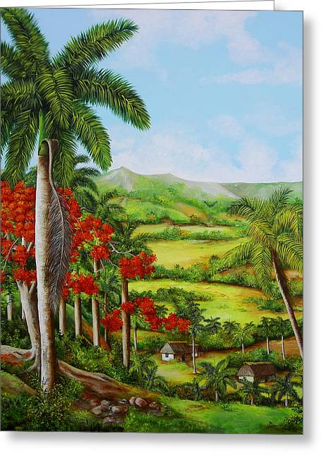 Cuban Artist Greeting Cards - Valley of Yumuri Greeting Card by Dominica Alcantara