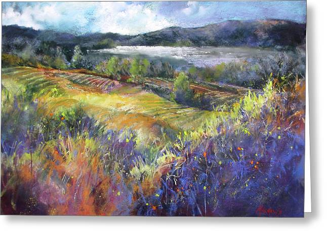 Valley View Greeting Card by Rae Andrews