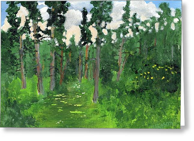 Valley Walk Greeting Card by Rodger Ellingson