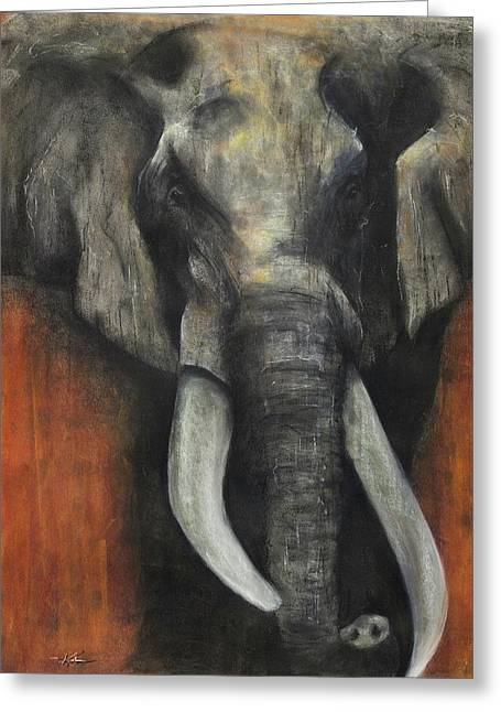 Elephant Pastels Greeting Cards - Valour Greeting Card by Kristin Guttridge