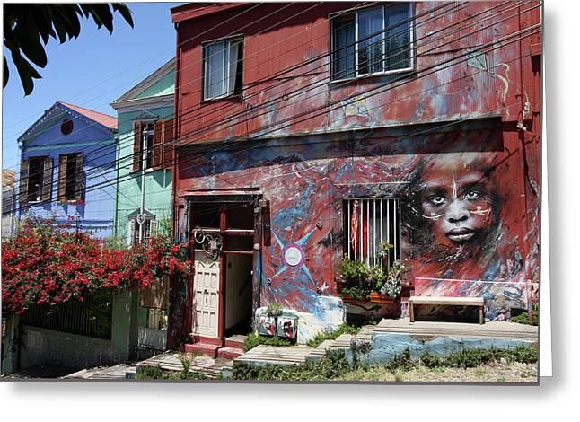 Valparaiso Street Art 48 Greeting Card by Aidan Moran