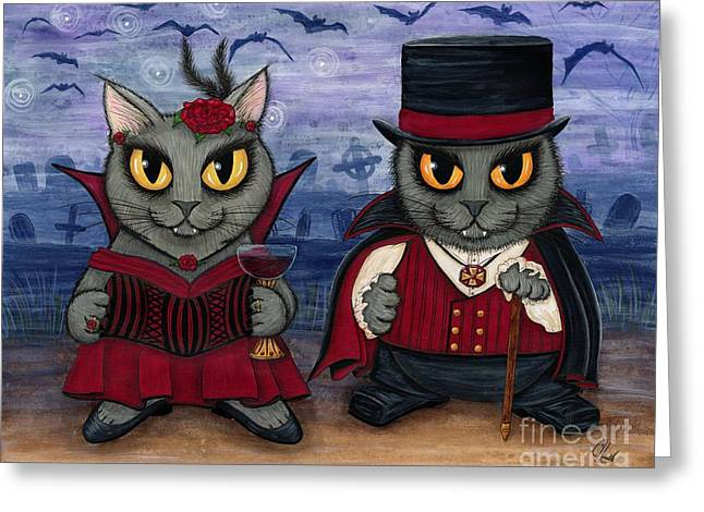 Vampire Cat Couple Greeting Card