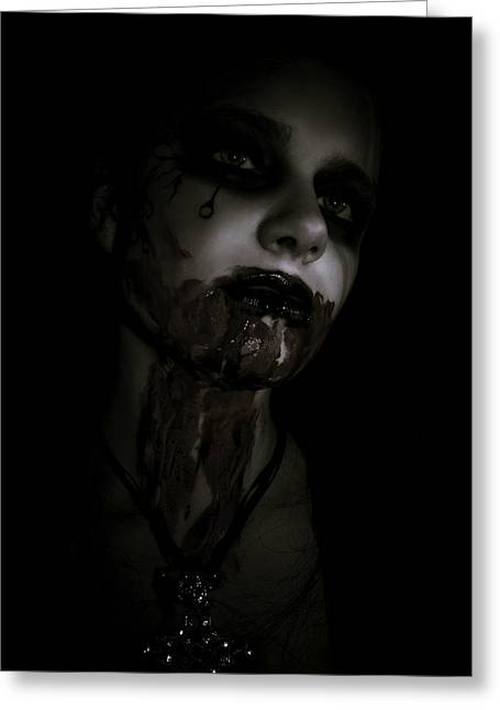 Scary Digital Art Greeting Cards - Vampire Feed 2 Greeting Card by Kelly Jade King