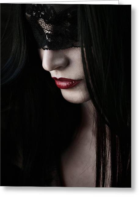 Vampire Kiss Greeting Card by Cambion Art