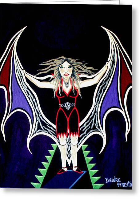 Vampire Lady Of Death Greeting Card by Deidre Firestone
