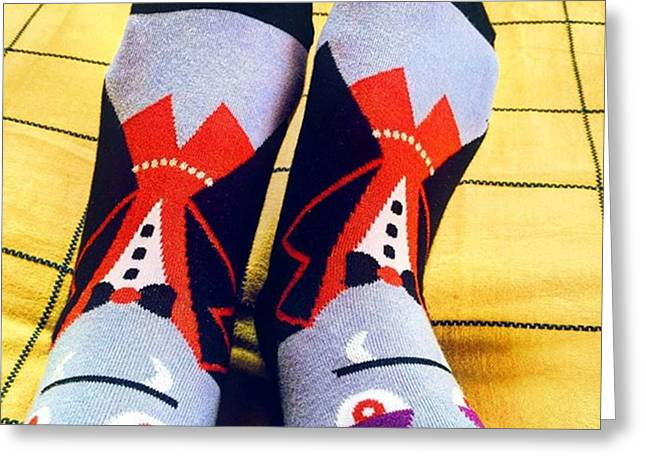 #vampire #socks #dracula #quirky Greeting Card by Senjuti Kundu