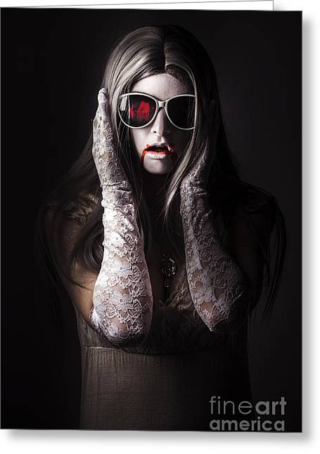 Vampire Woman In Darkness Hiding From The Light Greeting Card by Jorgo Photography - Wall Art Gallery