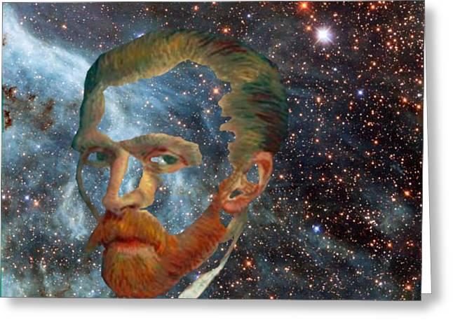 Van Gogh Art Study In Blue Greeting Card