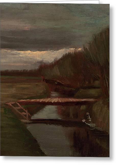 Van Gogh Ditch And Small Bridge Greeting Card by Vincent Van Gogh