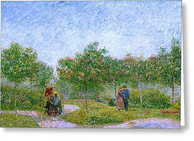 Van Gogh Garden In Montmartre With Lovers Greeting Card by Vincent Van Gogh