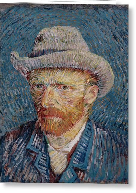 Vincent Van Gogh Greeting Cards - Van Gogh Self Portrait Grey Felt Hat Greeting Card by Vincent Van Gogh