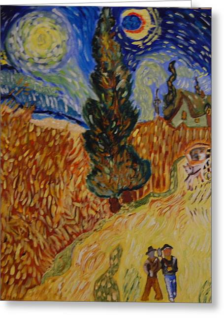 Van Gogh Study Greeting Card by Michele Flannery