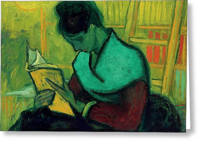 Van Gogh The Novel Reader Greeting Card by Vincent Van Gogh