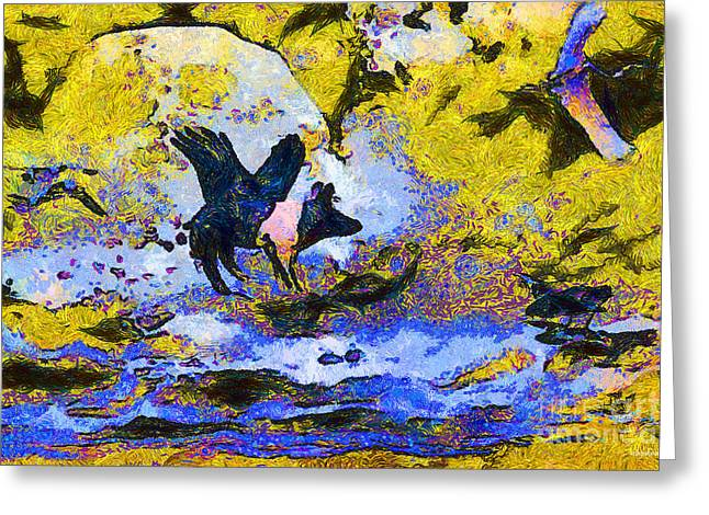 Van Gogh.s Flying Pig 3 Greeting Card by Wingsdomain Art and Photography