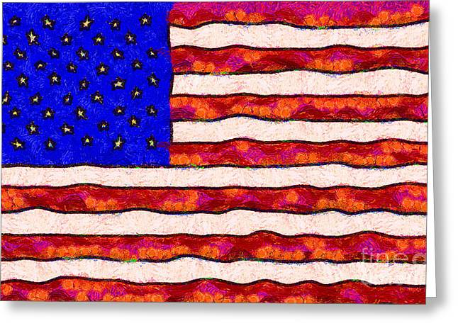 Van Gogh.s Starry American Flag Greeting Card by Wingsdomain Art and Photography