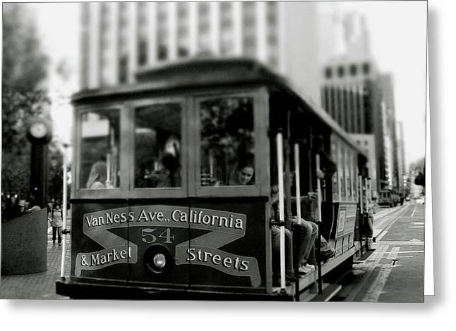 Van Ness And Market Cable Car- By Linda Woods Greeting Card by Linda Woods