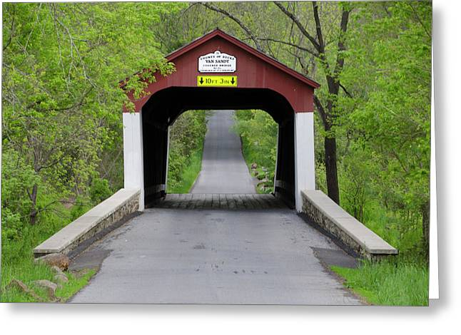 Van Sandt Covered Bridge - Bucks County Pa Greeting Card by Bill Cannon