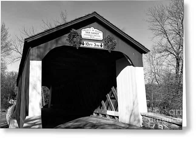 Van Sandt Covered Bridge Mono Greeting Card by John Rizzuto