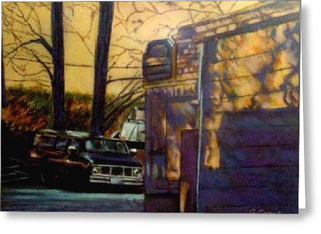 Road Trip Pastels Greeting Cards - Van Shadows Greeting Card by George Grace