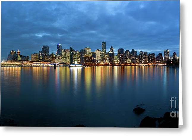 Vancouver At Dusk Greeting Card