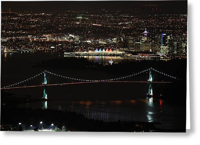 Vancouver At Night Greeting Card