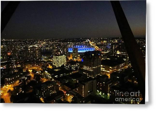 Vancouver At Night Greeting Card by Igor Baranov