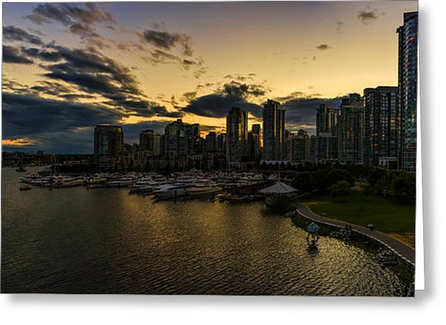 Vancouver At Night Greeting Card by Viktor Birkus