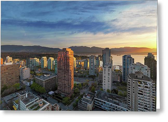Vancouver Bc Cityscape At Sunset Greeting Card by David Gn