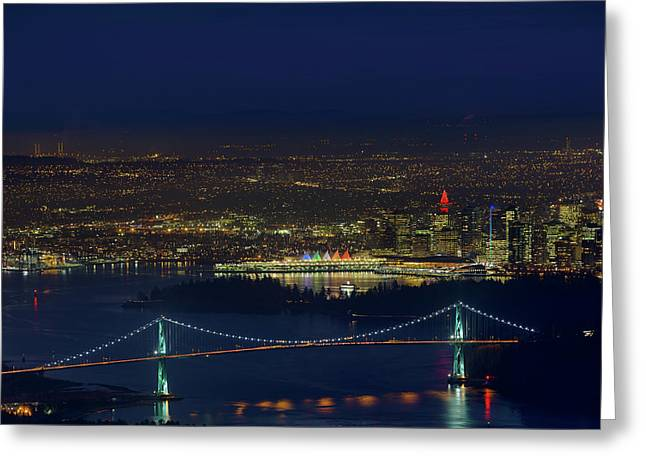 Vancouver Bc Cityscape By Lions Gate Bridge Greeting Card