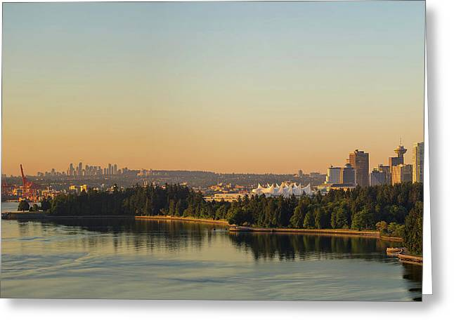 Vancouver Bc Cityscape By Stanley Park Morning View Greeting Card by David Gn