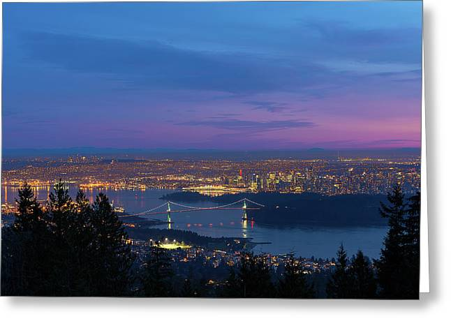 Vancouver Bc Cityscape Lions Gate Bridge Sunset Greeting Card