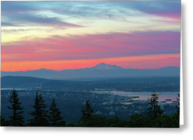 Vancouver Bc Cityscape With Cascade Range Morning View Greeting Card by David Gn