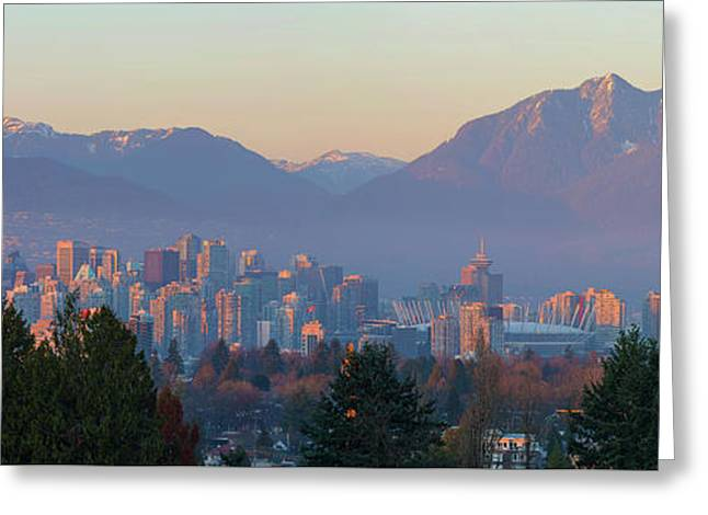 Vancouver Bc Downtown Cityscape At Sunset Panorama Greeting Card